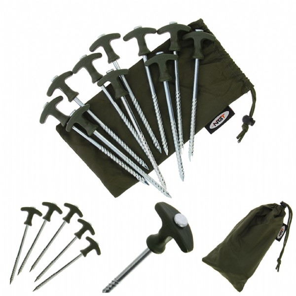 NGT - Pack of 10 Bivvy Pegs with Bag. 1