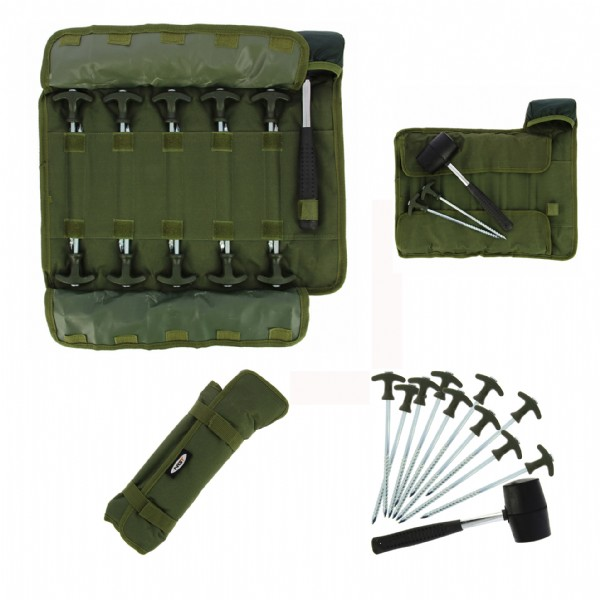 NGT - Bivvy Pegs with Mallet in case 1