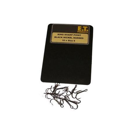 E.T. King Sharp Point Black Nickel Trebles Size 4 1